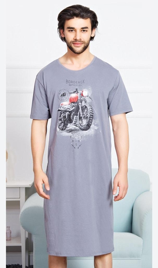 2f2459b4733 Pánská noční košile s krátkým rukávem Motorka - šedá