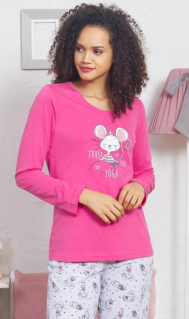 e0fc4449a968 Dámské pyžamo dlouhé Myška - růžová