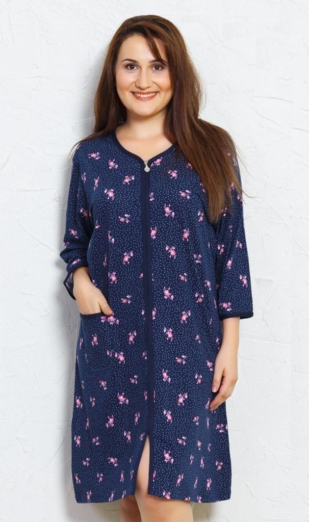 Dámské domácí šaty s tříčtvrtečním rukávem Růže - tmavě modrá ... 683f2c597c