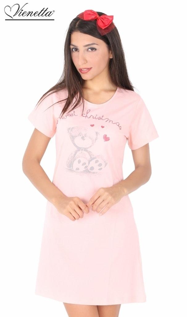 49175e15aae Dámská noční košile Vienetta Secret Méďa Christmas - lososová ...