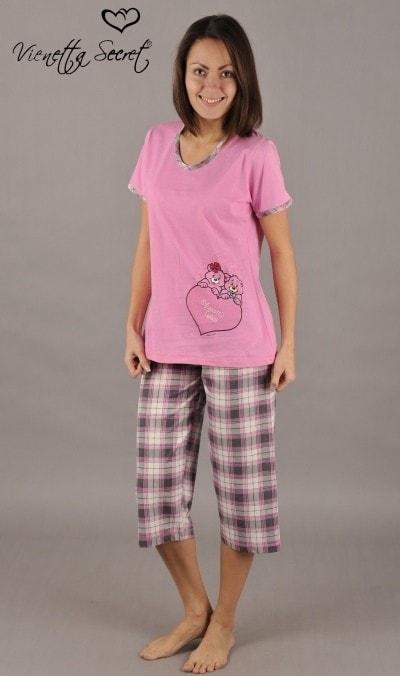 Dámské pyžamo kapri VIENETTA SECRET Medvěd na srdíčku - světle růžová 569d2c0c43