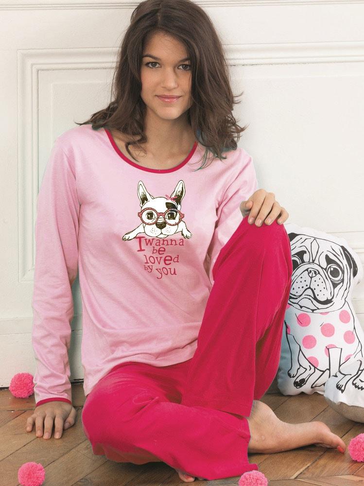 Dámské pyžamo CTM STYLE Doggy růžové  e1dfef144c
