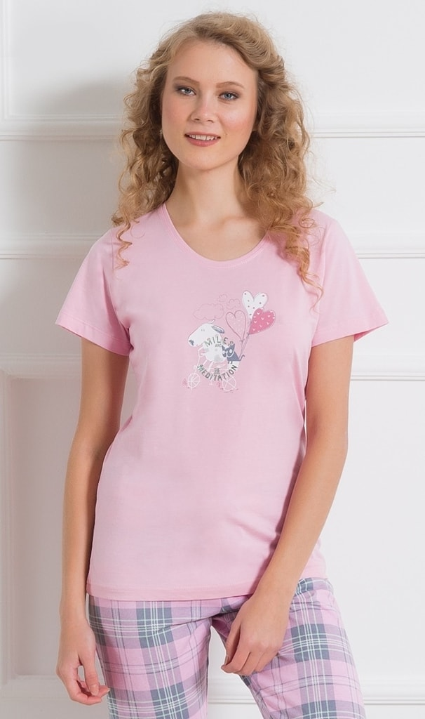 Dámské pyžamo kapri VIENETTA Psi na kole - světle růžová  aca9e34e22