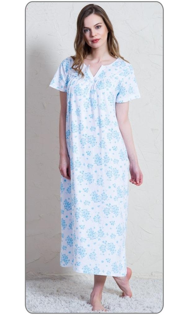 Dámská noční košile s krátkým rukávem Margita - bílá tyrkysová ... 4e21c8ad52
