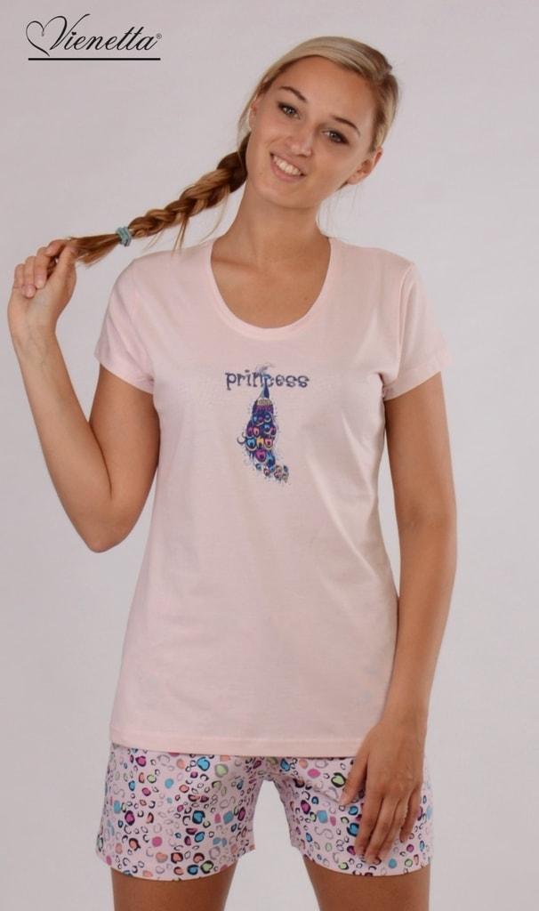 75ca9dec963 Dámské pyžamo šortky VIENETTA Páv - růžová