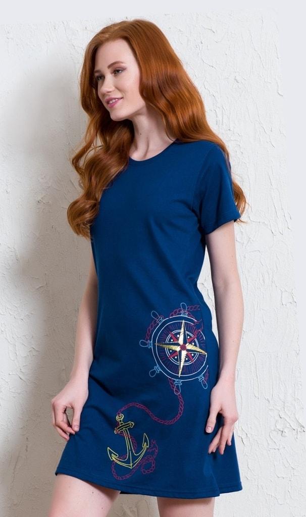 a6754e89372 Dámská noční košile s krátkým rukávem Vienetta Velká kotva - tmavě modrá