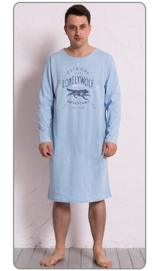 323d2f65b79 Pánská noční košile s dlouhým rukávem Vlk - světle modrá