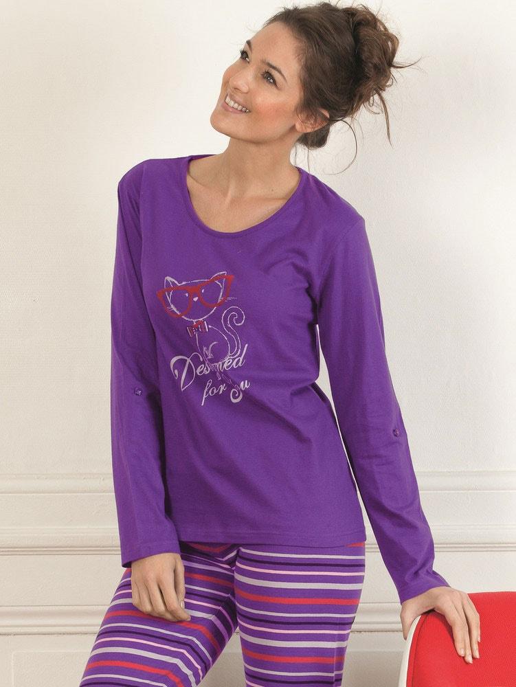 4e89b1576ca Dámské pyžamo CTM STYLE Designed fialové