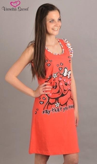 f9976517764 Dámská noční košile na ramínka VIENETTA SECRET Medvěd korálová ...