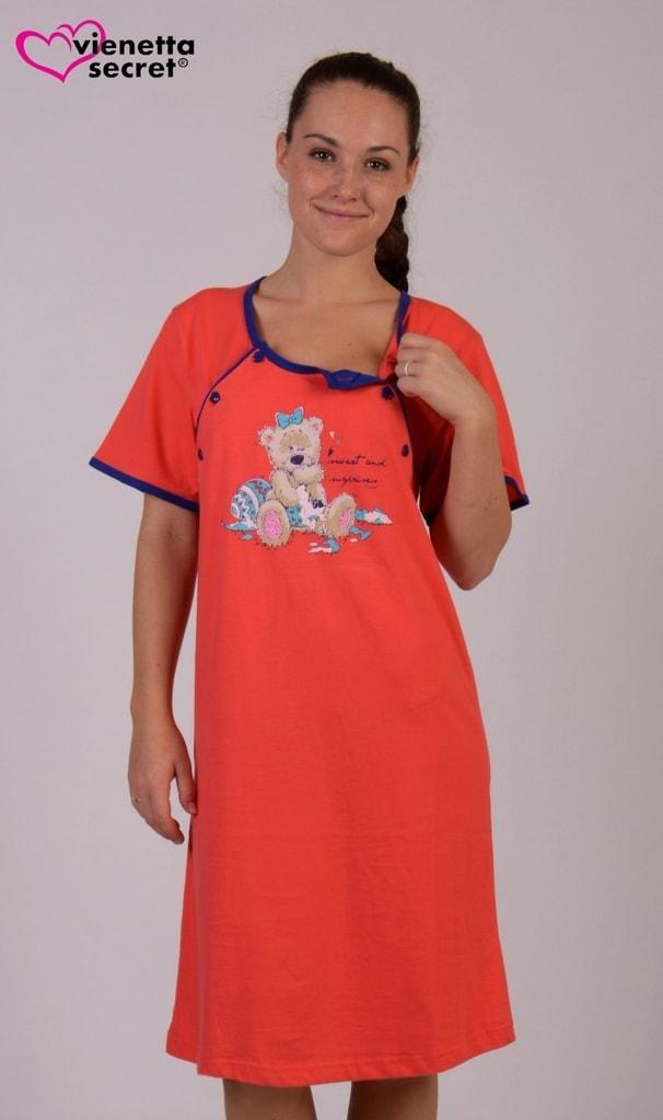 551a2928418 Dámská noční košile mateřská Vienetta Malý méďa korálová