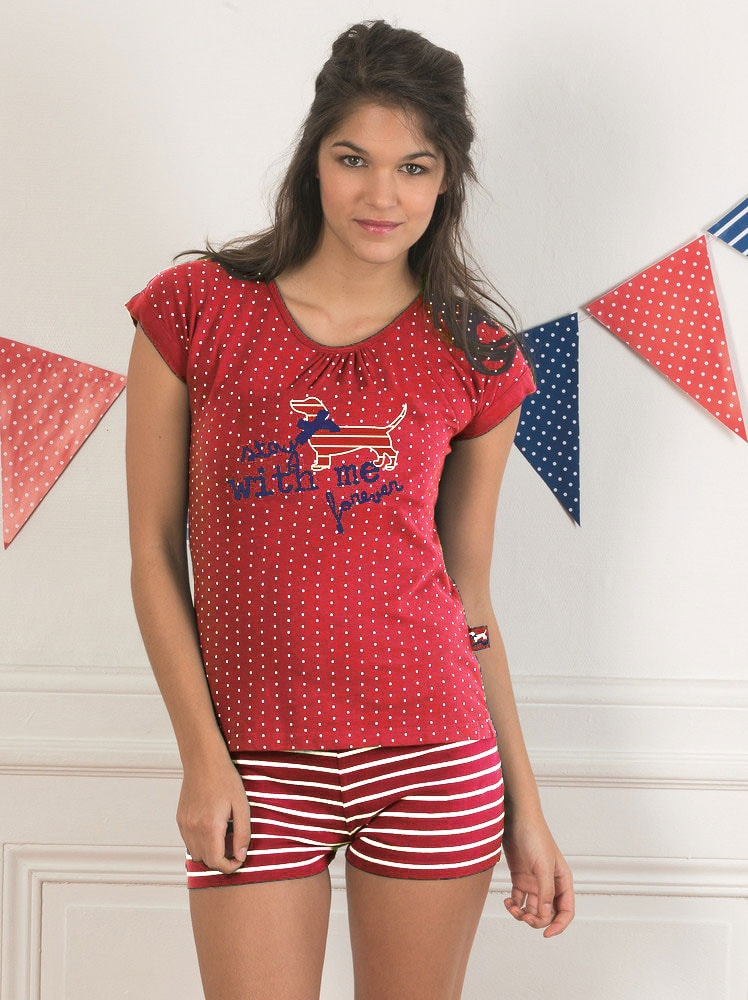 Dámské krátké pyžamo CTM STYLE Stay červené  01c64e9ff5