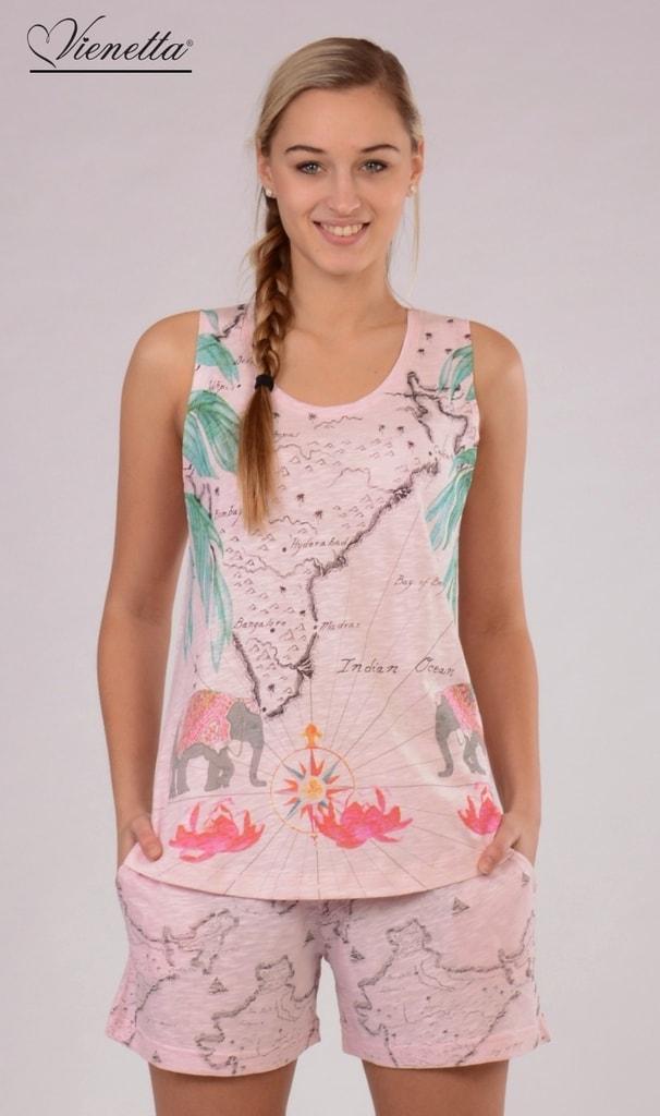 4d51f757c804 Dámské pyžamo šortky na ramínka VIENETTA India - světle růžová ...