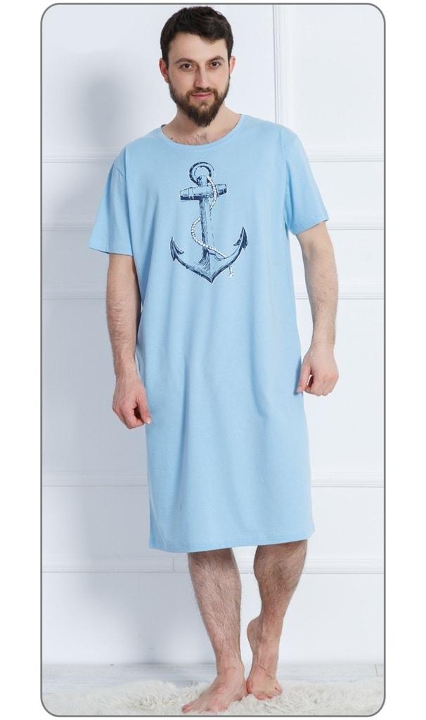 22770c535d6 Pánská noční košile s krátkým rukávem Velká kotva - světle modrá ...
