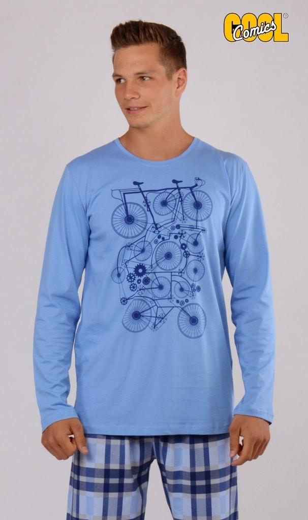 18c1bb42ddf4 Pánské pyžamo dlouhé VIENETTA SECRET Bicykl modrá