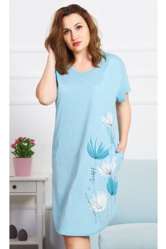 Dámské domácí šaty s krátkým rukávem Beautiful - modrá  d8333da2106