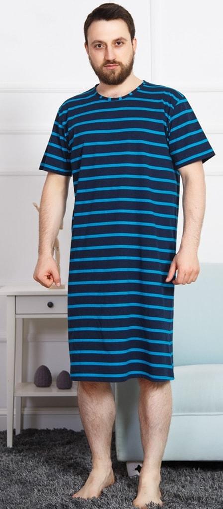 25d0f3807db Pánská noční košile s krátkým rukávem Eduard - tmavě modrá