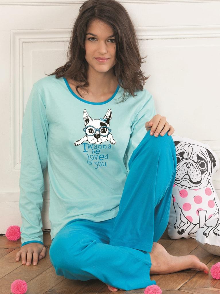 83b3612de1db Dámské bavlněné pyžamo CTM STYLE Doggy tyrkysové