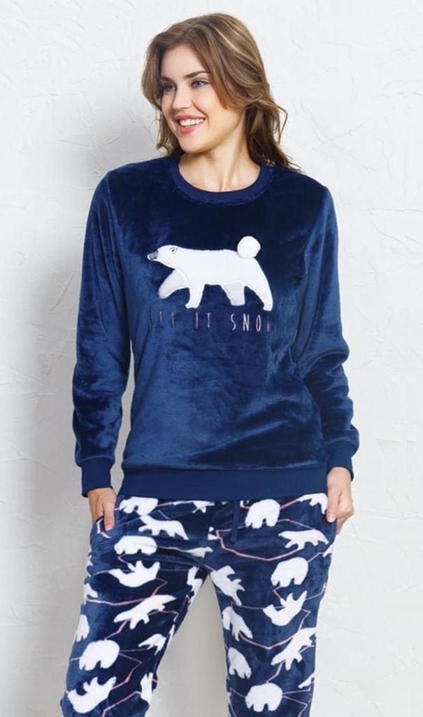 Dámské pyžamo dlouhé teplé Méďa - tmavě modrá  a00f4780e6