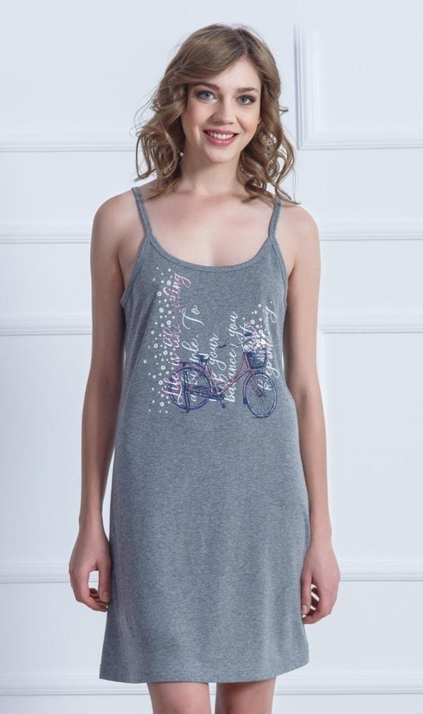 588f82d65b5 Dámská noční košile na ramínka VIENETTA Kolo - tmavě šedá