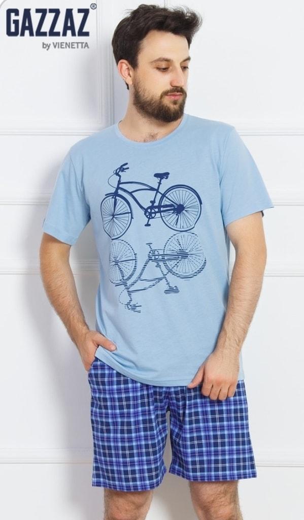3ce31adc417e Pánské pyžamo šortky Kolo - světle modrá