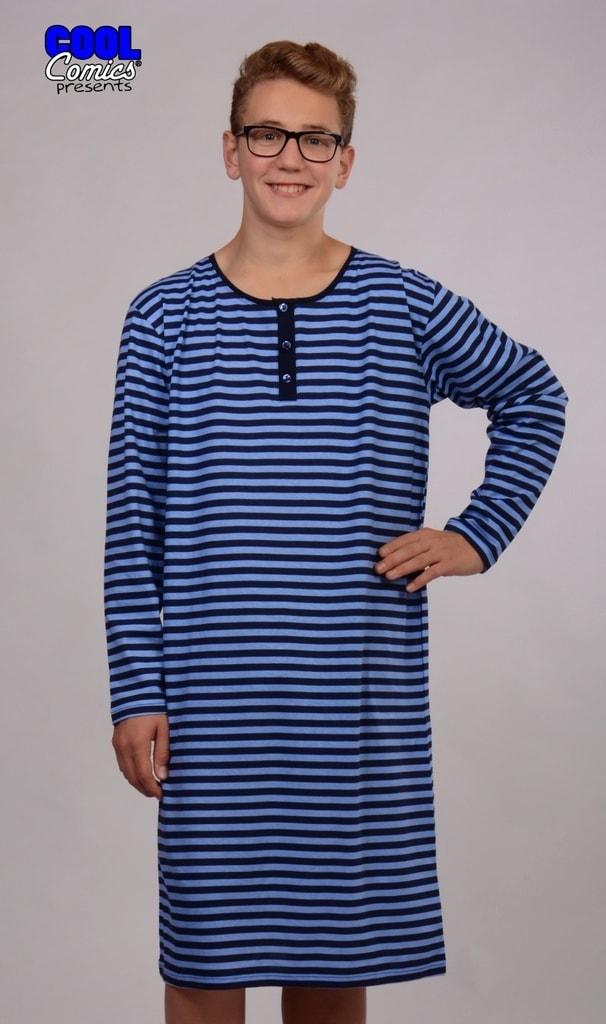 Pánská noční košile s dlouhým rukávem COOL COMICS Adam - modrá ... 0a98e65c20