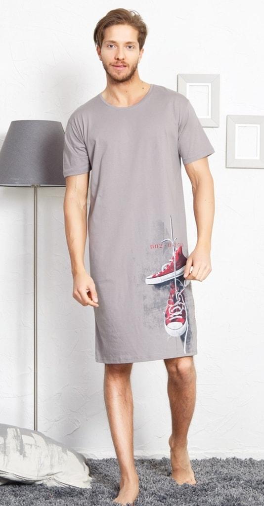 11dec0d9238 Pánská noční košile s krátkým rukávem Tenisky - šedá