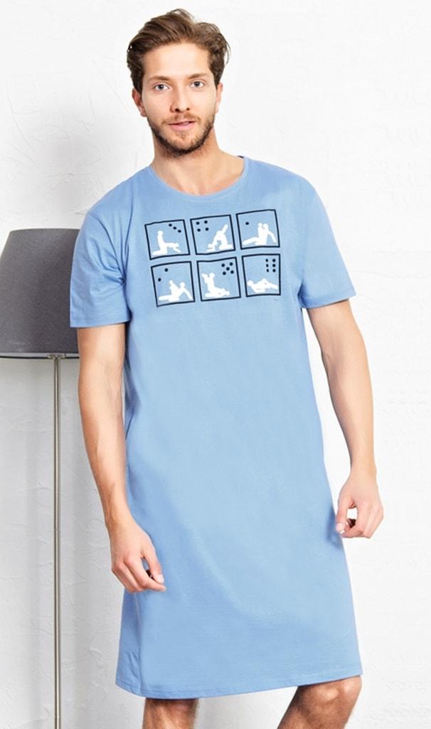 da708ba3ef9 Pánská noční košile s krátkým rukávem Kamasutra - světle modrá ...