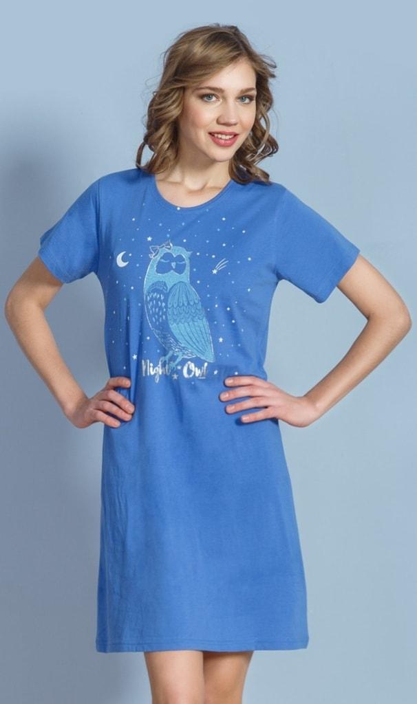 997e93f9e36 Dámská noční košile s krátkým rukávem VIENETTA Sova Pálená - modrá ...