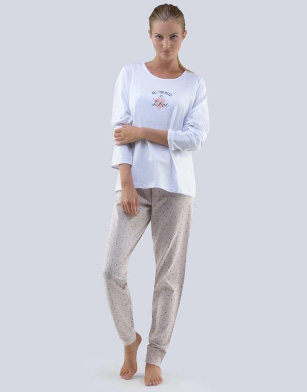 30f0e996a GINA dámské pyžamo dlouhé dámské, šité, s potiskem Pyžama 2018 19073P -  bílá jogurtová