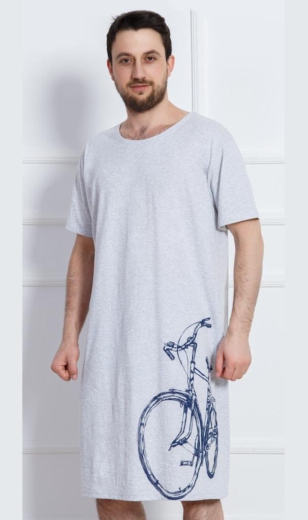 777f8ad5ab6 Pánská noční košile s krátkým rukávem Bicykl - šedá