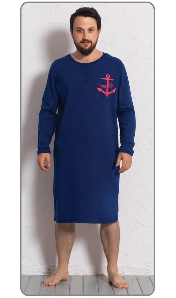 7cebedf6604 Pánská noční košile s dlouhým rukávem Kotva - tmavě modrá