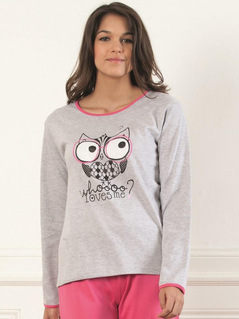 a6ce200cbac Dámské pyžamo CTM Style Sova šedé