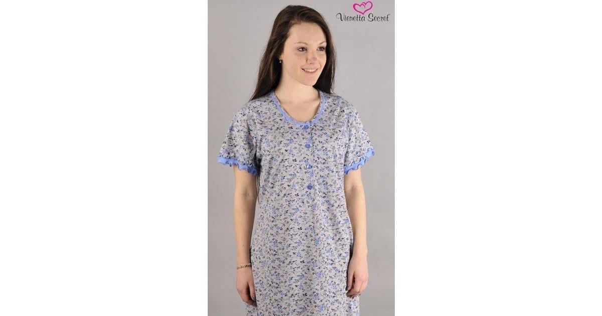 de9dd269264 Dámská noční košile Vienetta Secret Malá fialka - modrá