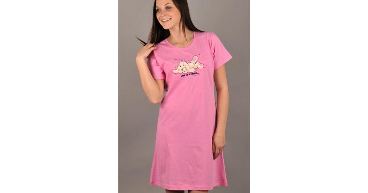 Dámská noční košile VIENETTA SECRET Pes ve snách růžová  82ae728742