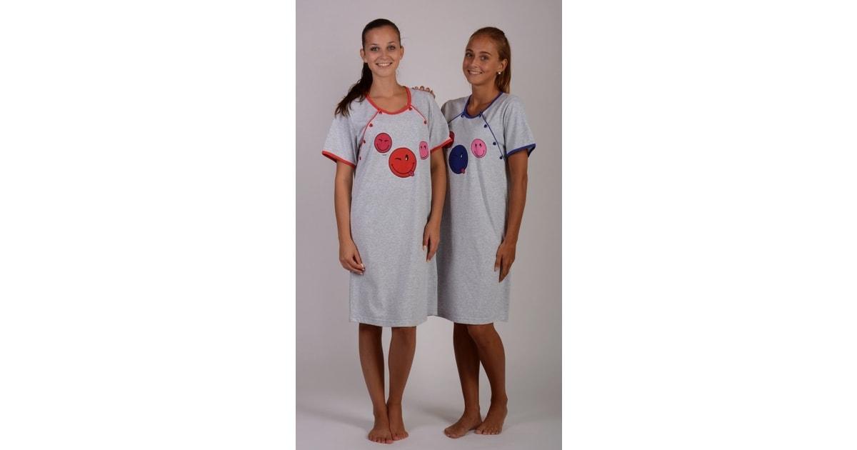 Dámská noční košile mateřská VIENETTA SECRET Smile šedá tmavě modrá ... b619424396