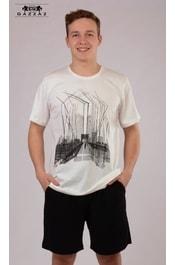 cc8271152aa1 Pánské pyžamo šortky GAZZAZ Bridge - bílá