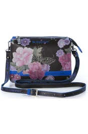 Kožená crossbody kabelka We Positive BG211 Brown Flowers