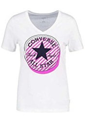 Dámské triko CONVERSE Off Center Stripe Fill CP Vneck Tee White