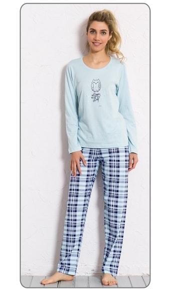 8a33f5b65312 Dámské pyžamo dlouhé VIENETTA Sova Sleep - mentolová
