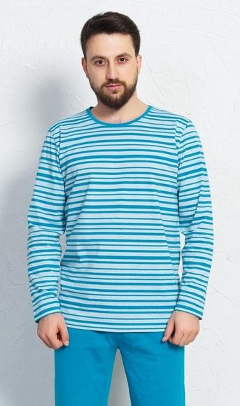 4af7d2709108 Pánské pyžamo dlouhé Robert - tyrkysová