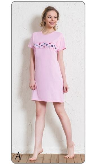 b17adc938a7 Dámská noční košile s krátkým rukávem Hvězdičky - růžová