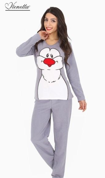 e29c5eaadae Dámské pyžamo dlouhé Vienetta Velký tučňák - šedá