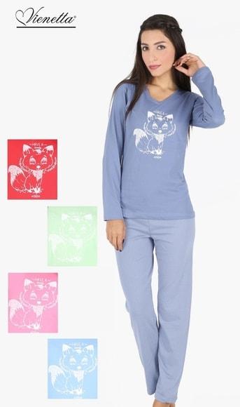 8b1a012fd53e Dámské pyžamo dlouhé Vienetta Malá Liška - hnědá