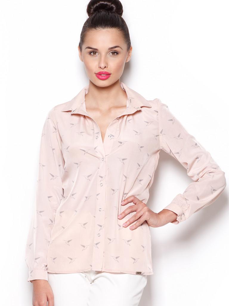 26e053989a8f Dámská košilová halenka FIGL M284 béžová - Iva.Style - dámsky a ...
