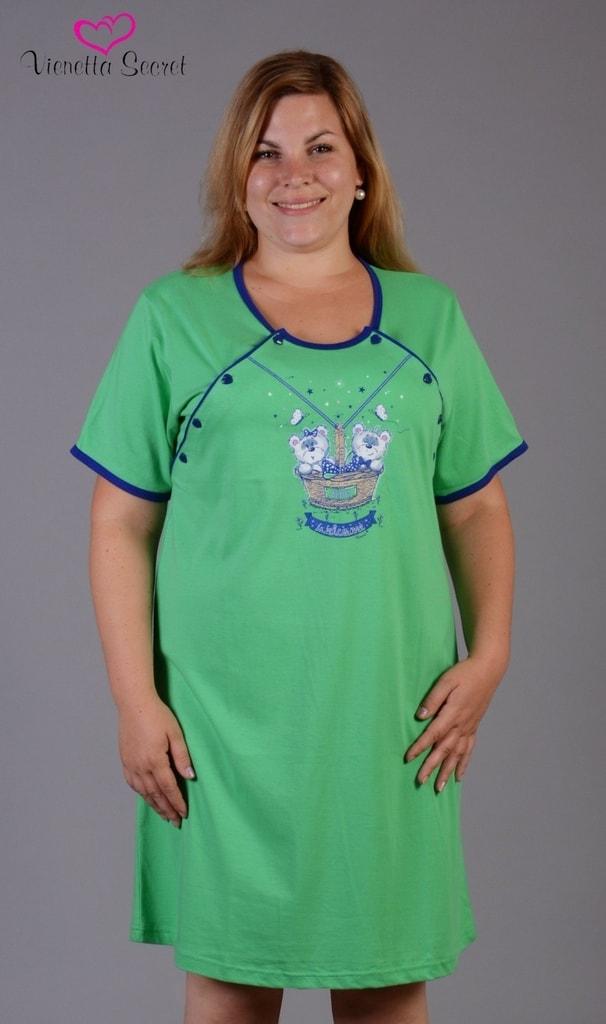 545b260af Dámská noční košile mateřská VIENETTA SECRET Méďové v košíku zelená ...