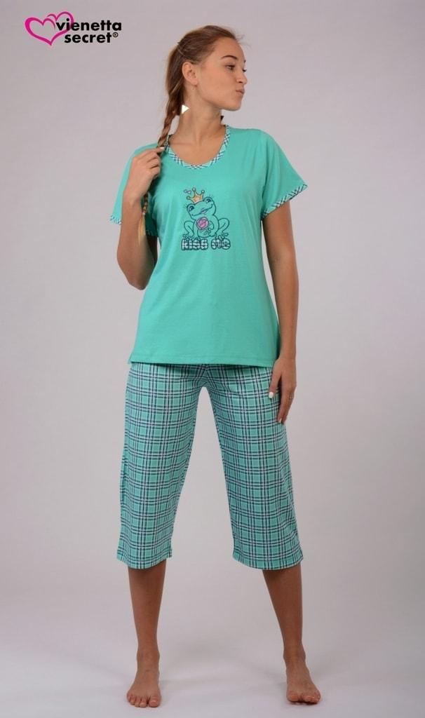 3e671d6b7b6e Dámské pyžamo kapri Vienetta Žába princezna - tyrkysová - Iva.Style ...