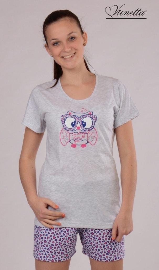 c33ff007e30d Dámské pyžamo šortky VIENETTA Sova - růžová - Iva.Style - dámsky a ...
