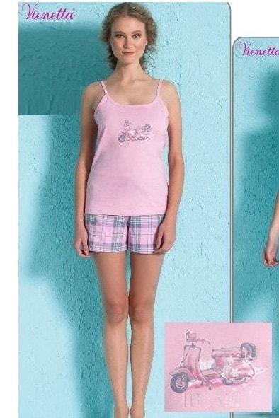 Dámské pyžamo šortky na ramínka Moped - světle růžová  82e01f2f09