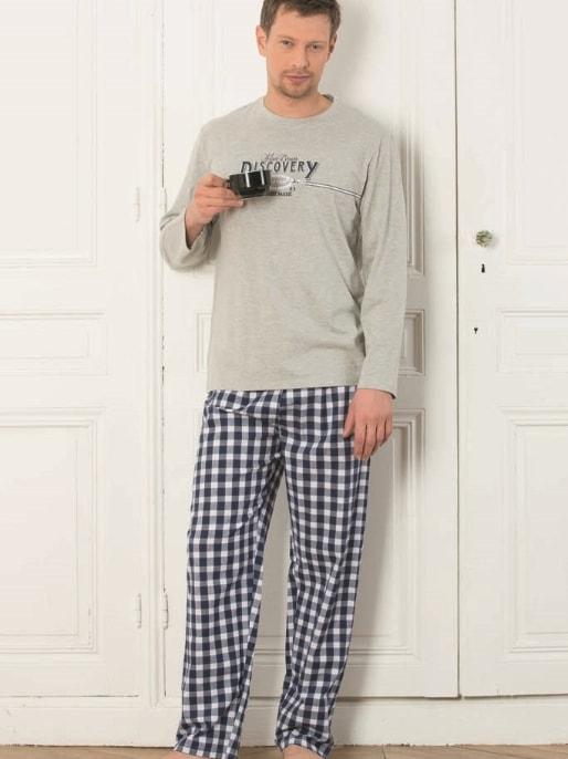 119e57b94 Pánské pyžamo CTM STYLE Discovery šedé | pánská pyžama s dlouhým ...