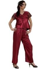 Saténové pyžamo DKAREN Ewa vínové